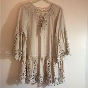 Boston Proper cotton lacy top, L, beige, beautiful